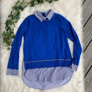Crown & Ivy Blue Sweater Shirt Scalloped